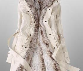 Fashion Beige Parka With Faux Fur Inner Coat